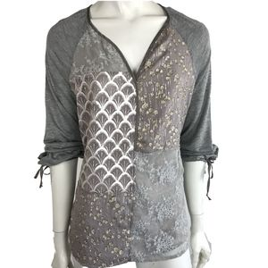 Anthropologie Tiny Mixed Media Silk Top Gray Sz M